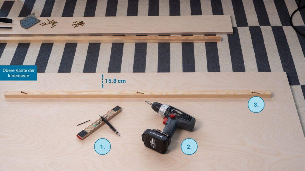 Schritt 1: Leisten montieren - happy DIY Headboard