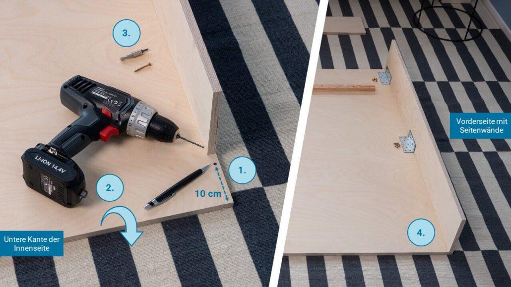 Schritt 2: Seitenwände befestigen - happy DIY Headboard