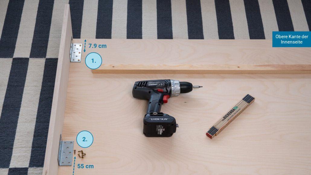 Schritt 3: Seitenwände befestigen - happy DIY Headboard
